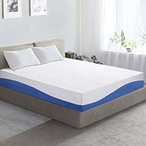 PrimaSleep Wave Gel Infused Memory Foam Mattress, 10'' H, King, Blue