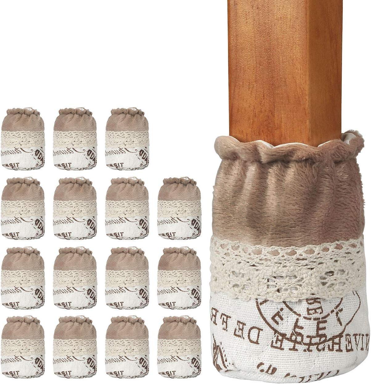 Chair Leg Socks, WarmHut 16pcs Table Furniture Leg Feet Tips Cloth Socks, Wood Floor Protectors, Home Decoration (Navajo Brown Letter)
