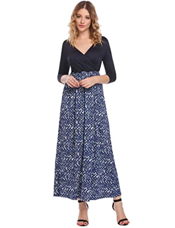 27ad24bf8f Hotouch Women's Faux Wrap Floral Striped Chevron Maxi Long Dress Navy Blue L