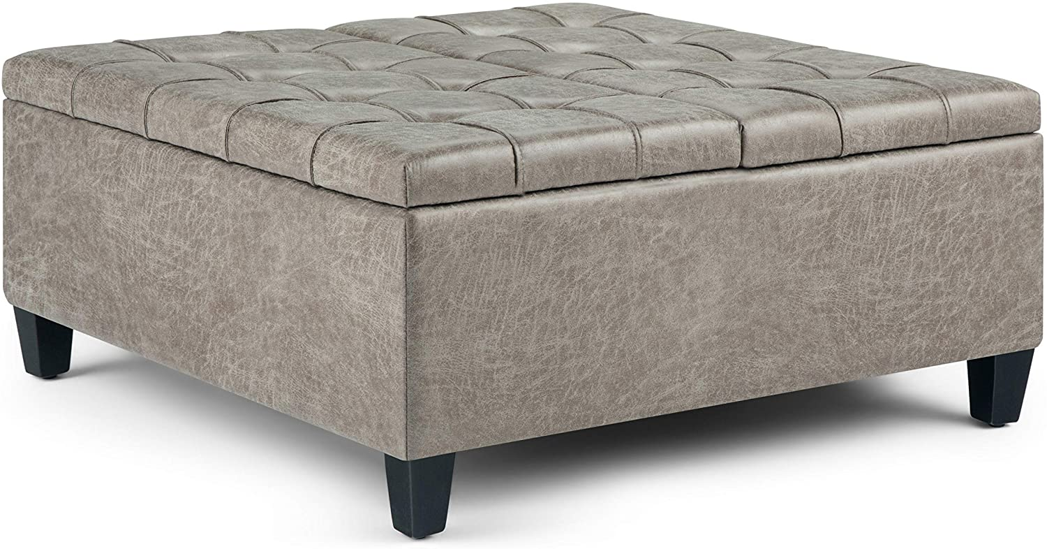Simpli Home AXCOT-265-DTP Harrison 36 inch Wide Traditional Square Storage Ottoman in Distressed Grey Taupe Faux Air Leather
