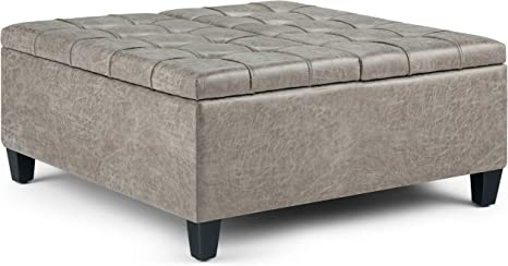 Amazon Com Simplihome Harrison 36 Inch Wide Square Coffee Table Lift Top Storage Ottoman Cocktail Footrest Stool In Upholstered Distressed Grey Taupe Tufted Faux Air Leather For The Living Room Traditional Furniture