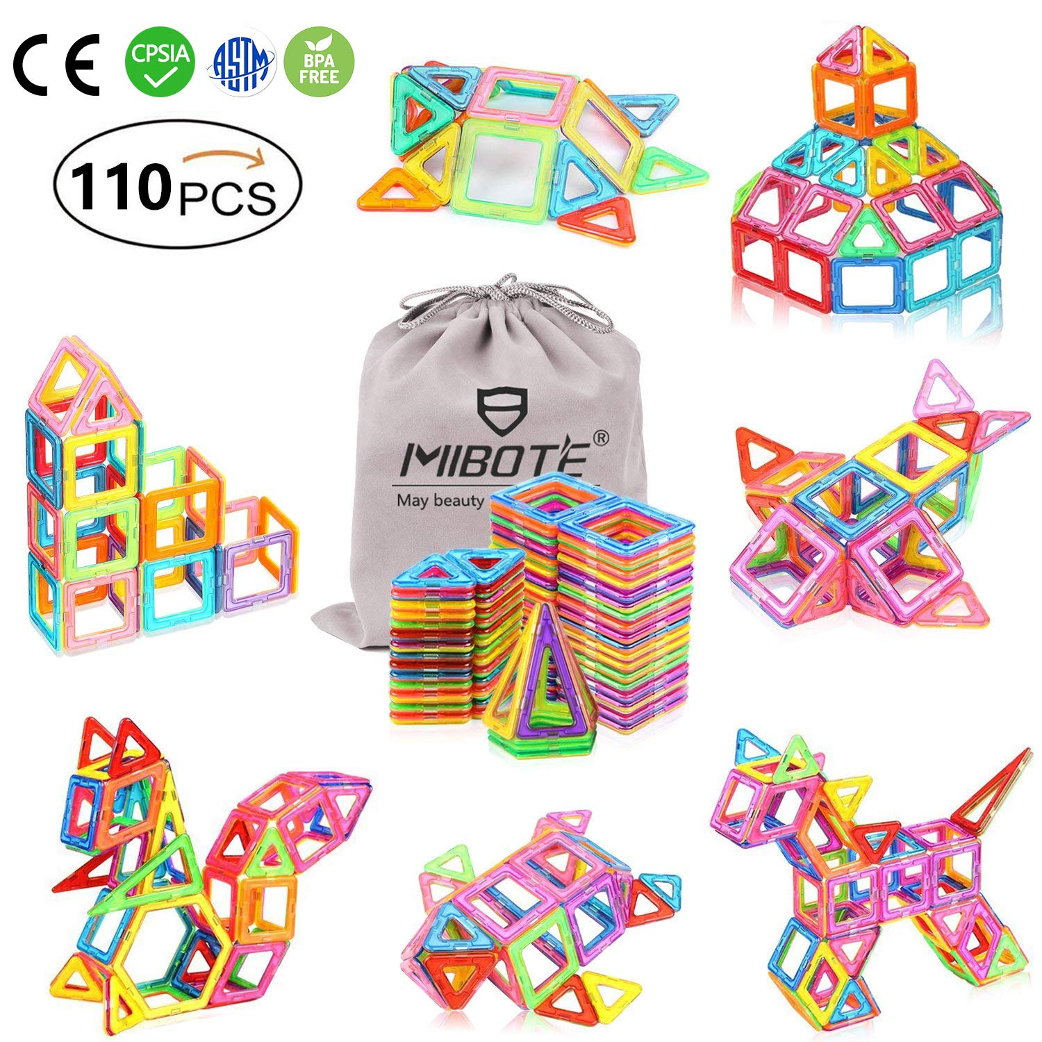 (110 PCS) Magnetic Building Blocks Educational Stacking Blocks Toddler Toys for Preschool Boys Grils Educational and Creative Imagination Development by Mibote product image
