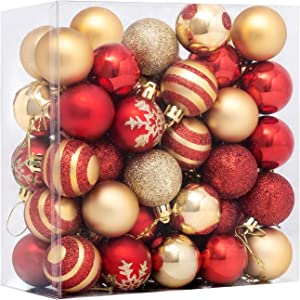 """FUNARTY 50ct Christmas Ball Ornaments Shatterproof Christmas Tree Balls Decorations Small 40mm/1.57"""" for Christmas Tree Holiday Wedding Party Decorations (Red and Gold)"""