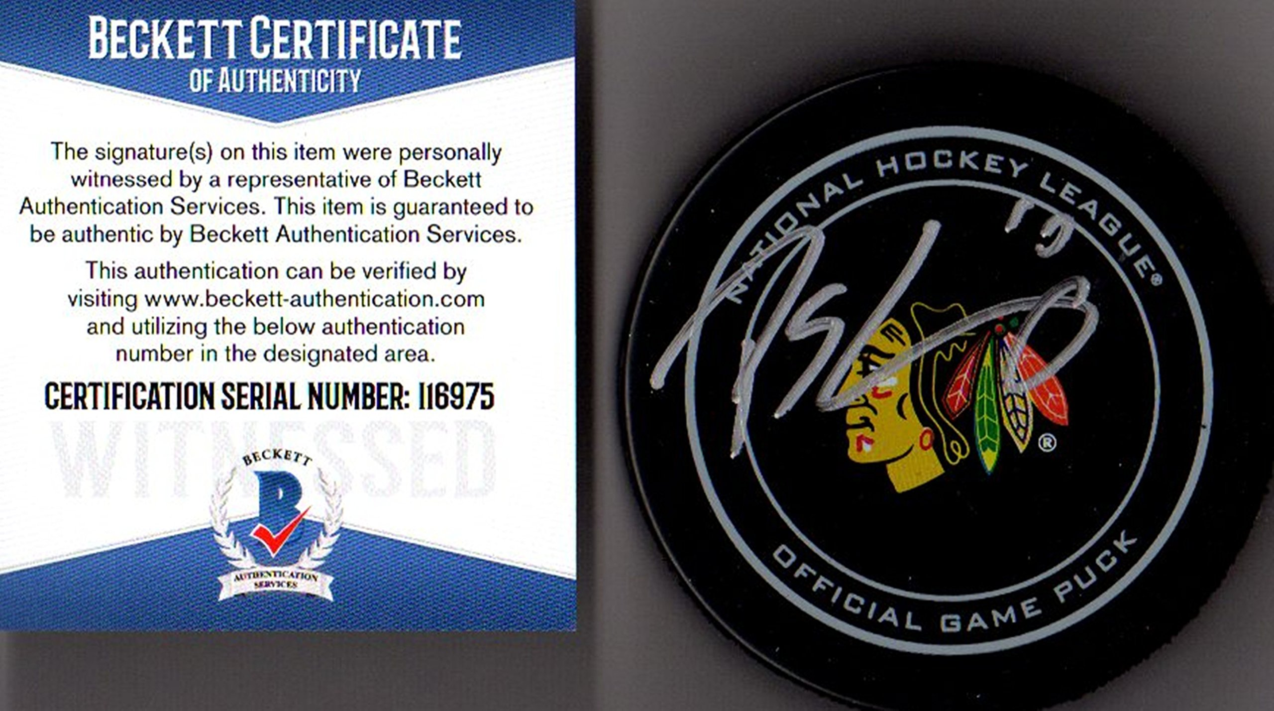 Beckett BAS Patrick Sharp Autographed Signed Chicago Blackhawks Real Game Puck