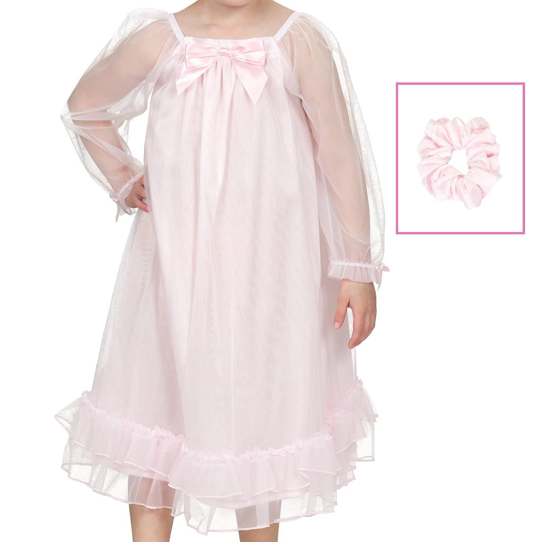 Laura Dare Little Girls Pink Bowtastic Nightgown w Matching Scrunchie