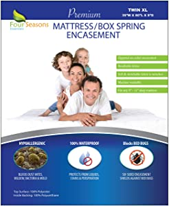 """Twin Extra Long (XL) Mattress/Box Spring Cover (8""""-11"""" Depth) Bedbug Waterproof Zippered Encasement Hypoallergenic Premium Quality Protector Protects from Dust Mites Allergens Vinyl-Free"""