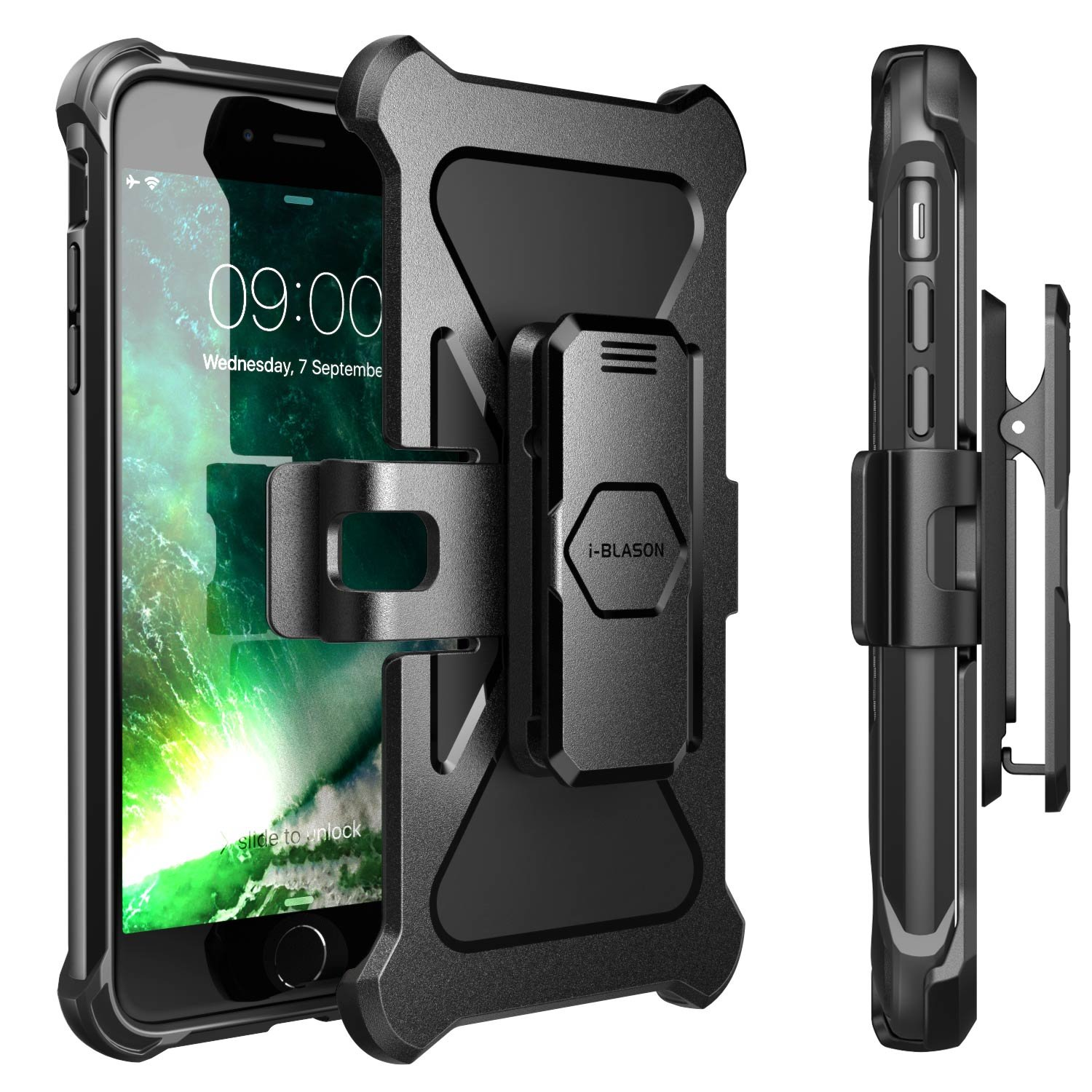 iPhone 8 Plus Case, i-Blason Transformer [Kickstand] Apple iPhone 8 Plus 2017 [Heavy Duty] [Dual Layer] Combo Holster Cover case with [Locking Belt Swivel Clip] (Compatible with iPhone 7 Plus)(Black) by i-Blason (Image #7)