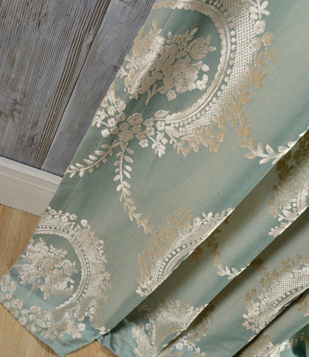 adaada 2er-Set Luxus vorhänge Europäische Jacquard vorhänge für Wohnzimmer (Blau, 245 * 140cm)