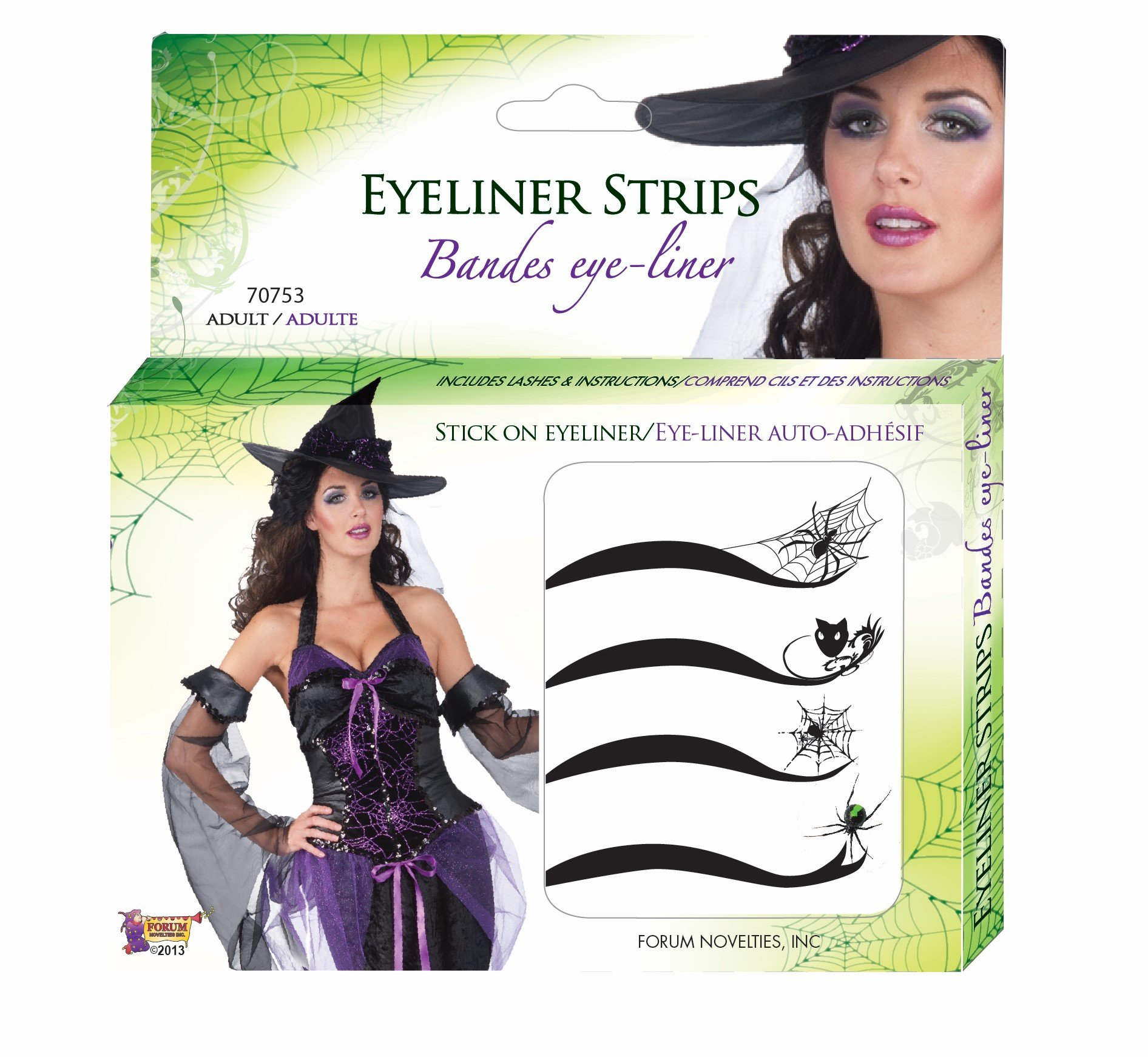 Forum Novelties Women's Spider Web Adhesive Eyeliner Strips Kit, Multi, One Size