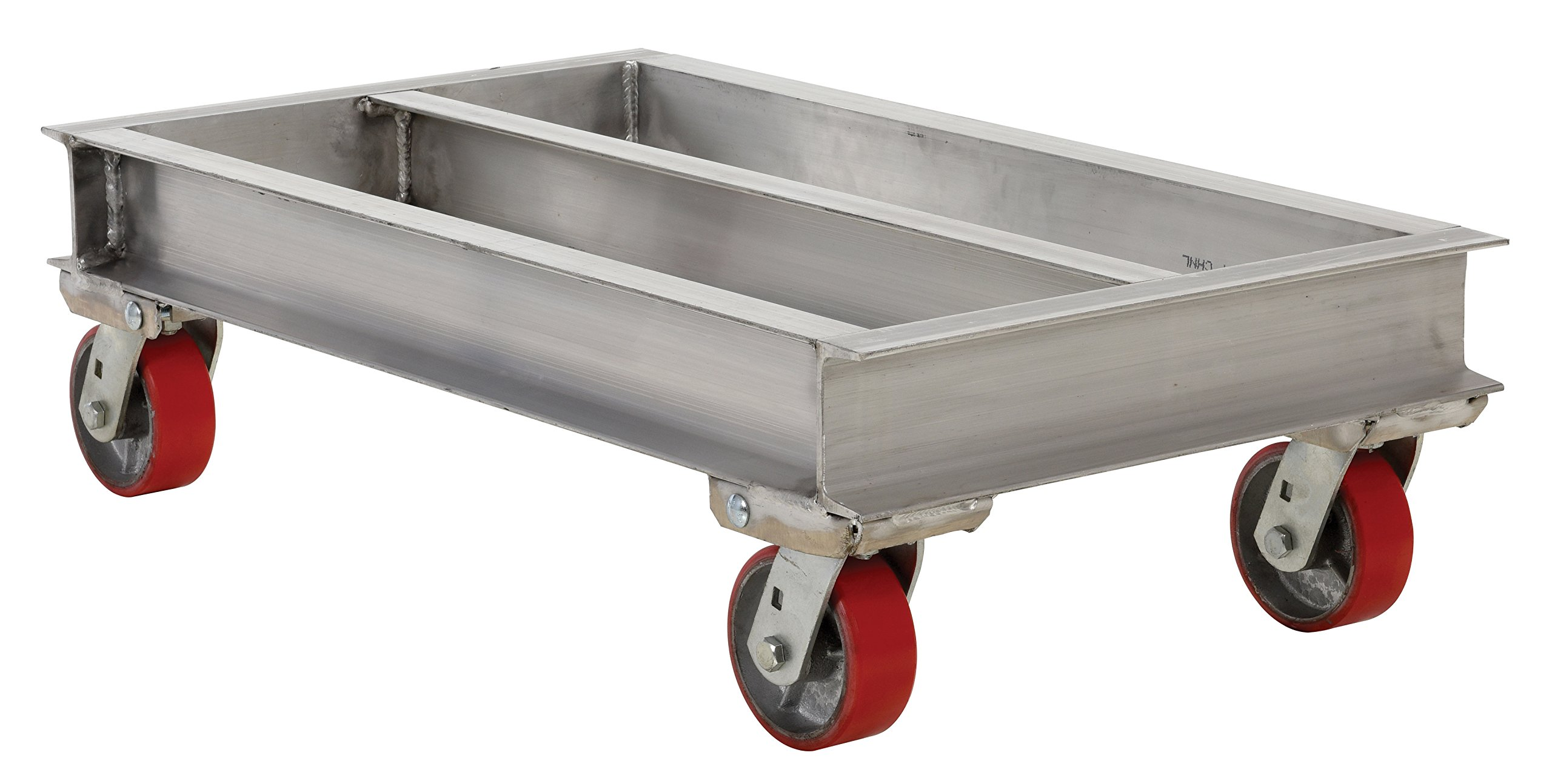 Vestil ACP-2136-20 Aluminum Channel Dolly with Poly on Steel Caster, 2000 lbs Capacity, 36'' Length x 21'' Width x 10-5/8'' Height Deck