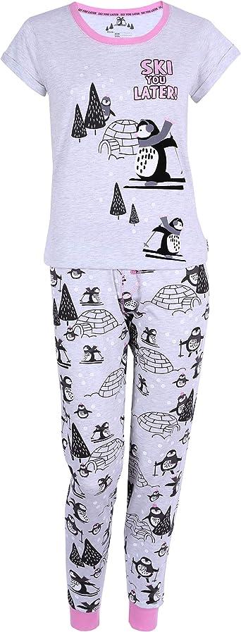 Pijama Gris con pingüino