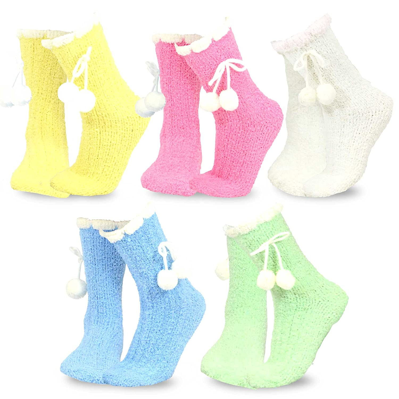 TeeHee Fashionable Cozy Fuzzy Slipper Crew Socks for Women 5-Pack