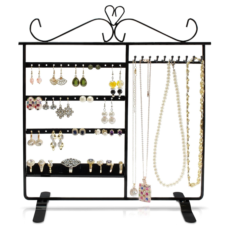 Porte bijoux avec 4 étages - Noir environ 33 x 31 x 10 cm - Présentation et rangement joyaux - Grinscard