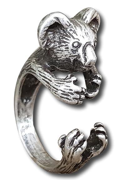 df7a13fb394d Pashal Australian Koala Bear 3D Adjustable Ring Fits Most (Silver ...