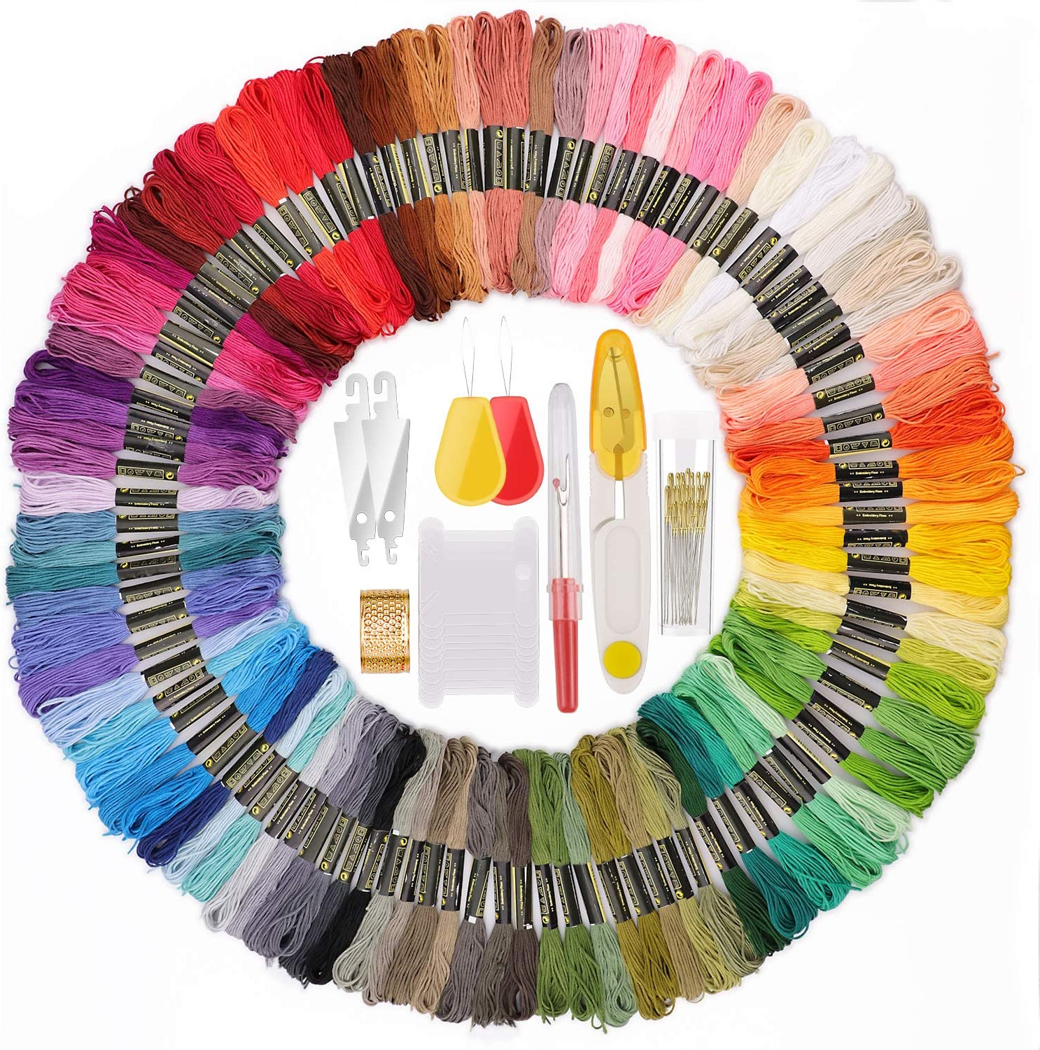 Crafts Floss for Friendship Bracelets with a Series of Needlework Tools 100 Skeins Rainbow Color Embroidery Floss Cross Stitch Threads