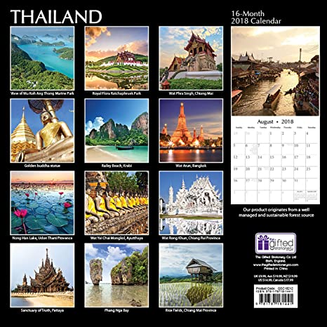2018 thailand wall calendar 30 cm x 30 cm with 210 calendar stickers amazoncouk office products
