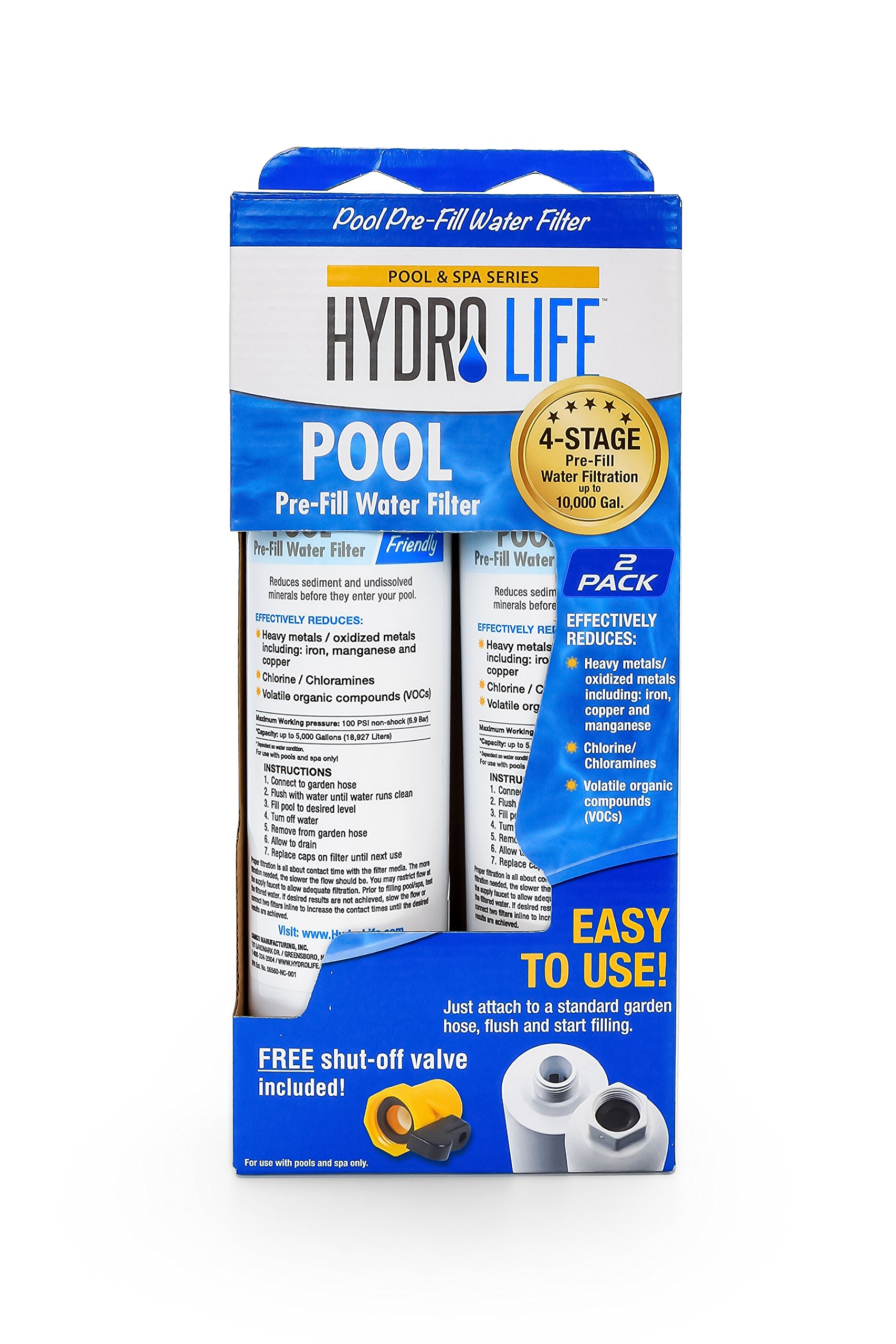 Hydro Life Pool Water Filter - Pack of 2 - Effectively Reduces Levels of Heavy Metals, Chlorine, Chloramines and Volatile Organic Compounds to Make Balancing Chemicals Easier, Model 52802 by Hydro Life (Image #3)