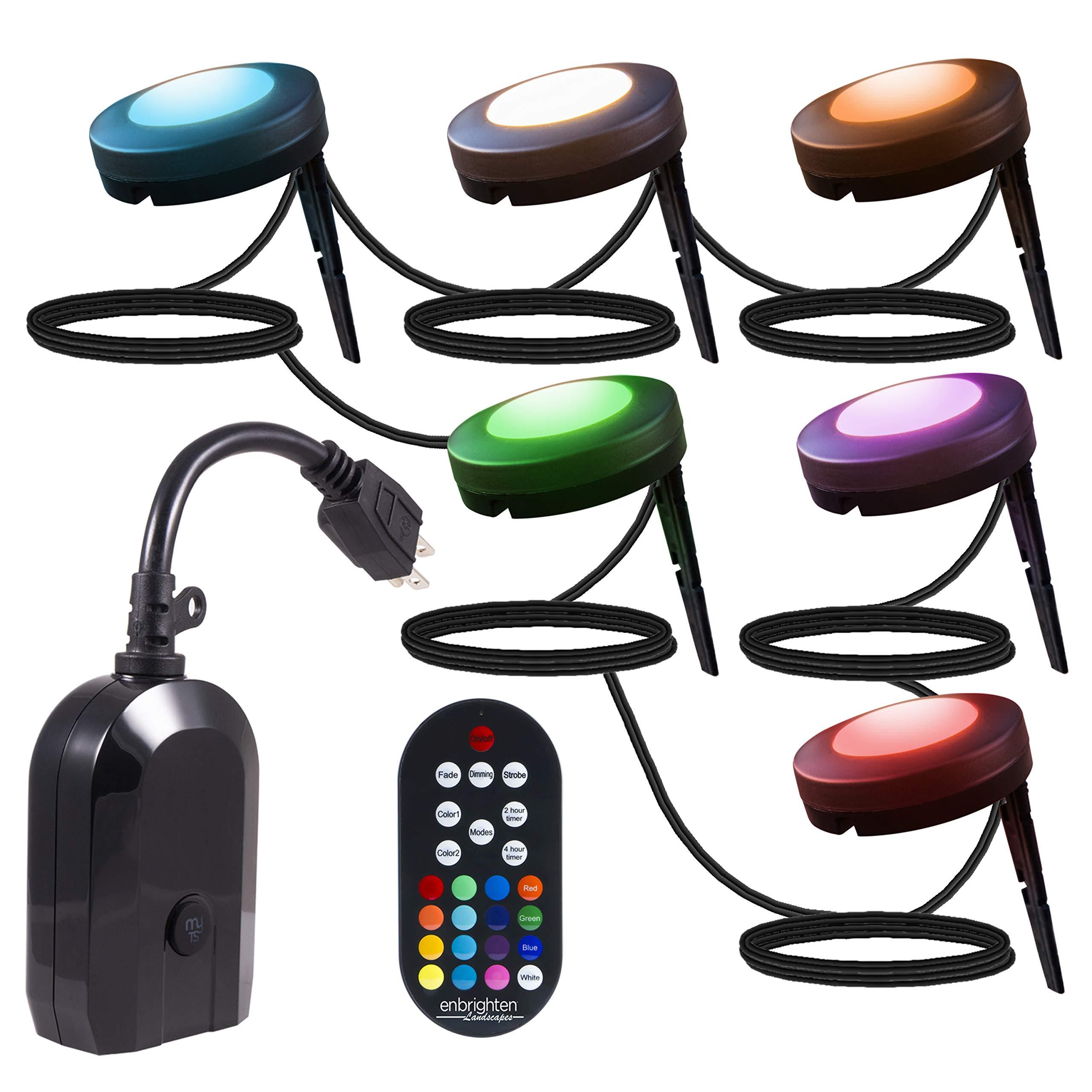 Enbrighten 45063 Color Changing (50ft. 6 Puck) WiFi Outdoor Landscape Lights Kit Seasons LED, 50 ft. Black