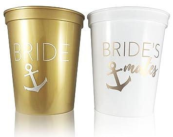 glamist bachelorette bridal shower nautical theme cups white gold 16 oz plastic