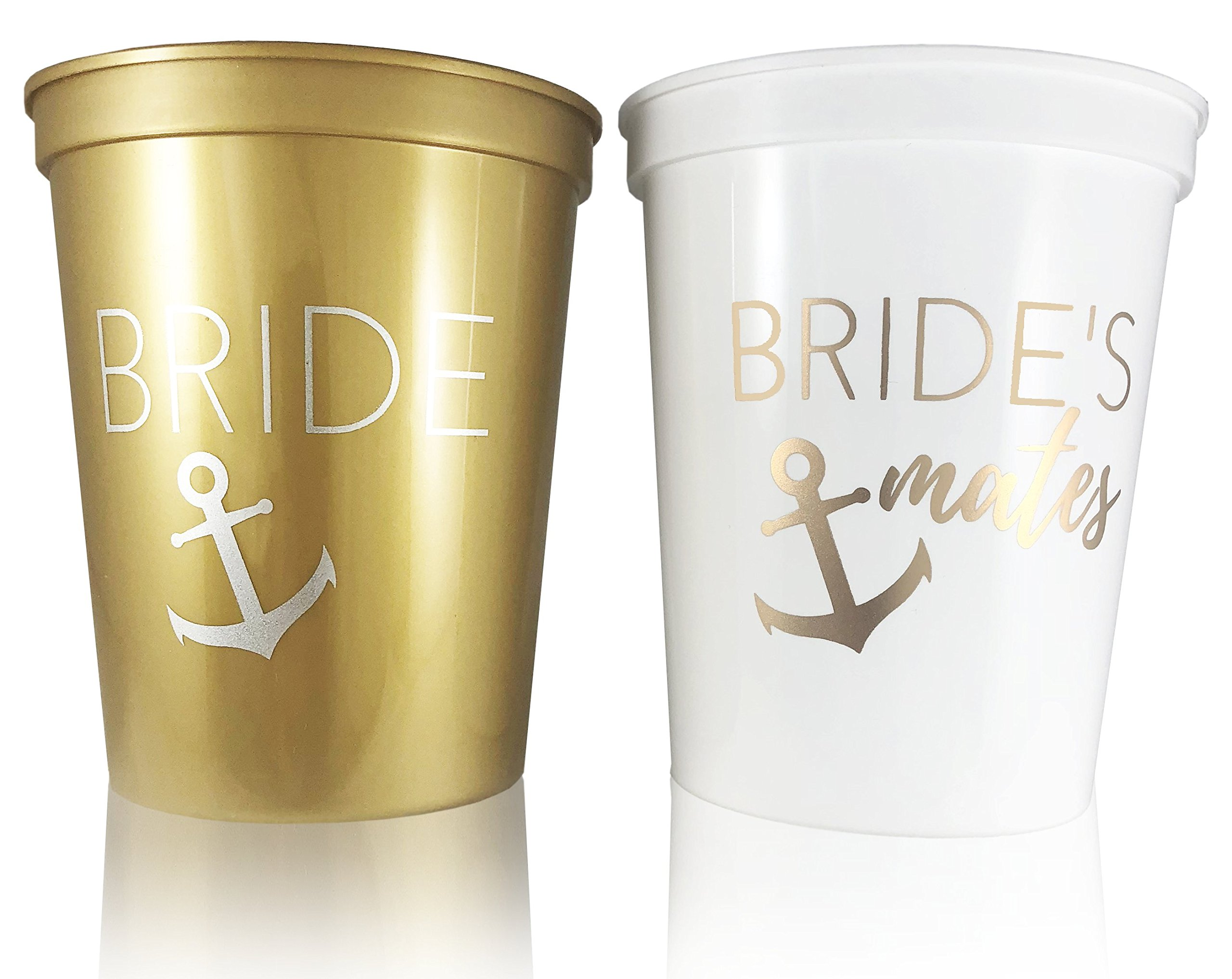 #glamist Nautical Theme Bridal Shower Cups - White & Gold 16 oz Plastic Cup Set for Weddings, Bridal Showers, Engagement & Bachelorette Parties. Get Nauti!