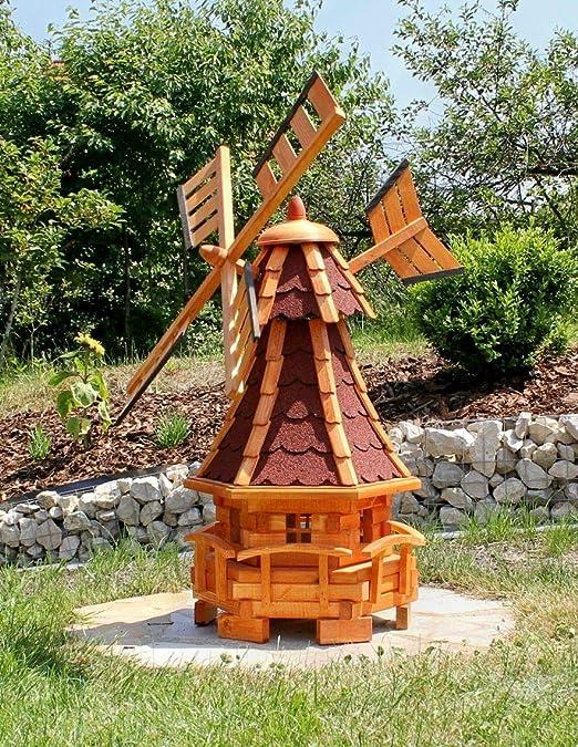 Molino de viento de jardín con luz solar rojo Tipo 11: Amazon.es: Jardín