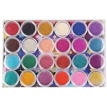 Amazon 24 Color Mini Bottles Nail Art Beads Caviar Plastic