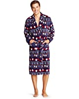 Men's Ugly Sweater Santa Stripe Robe Navy - Intimo