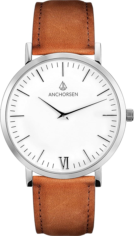 ANCHORSEN Big Adventure Maritime Armbanduhr - Farbe Silber - Schweizer Uhrwerk - Weißes Ziffernblatt - Braunes Wildlederarmband