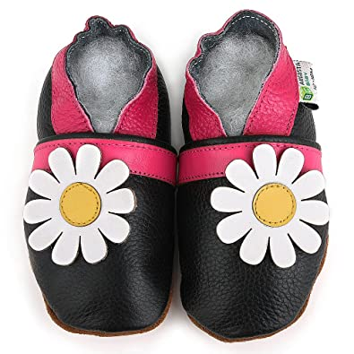 AUGUSTA BABY Baby Boys Girls First Walker Soft Sole Leather Baby Shoes - Black daisy - EU Size 21 4mzB4