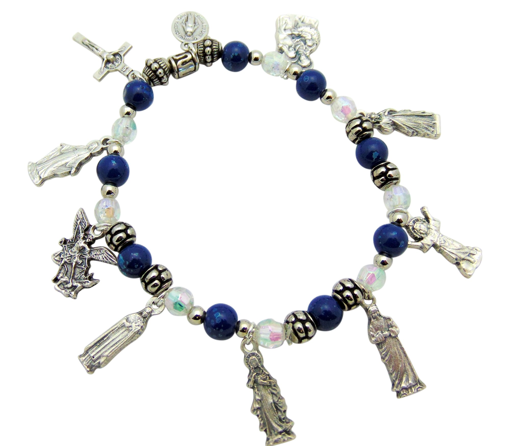 Westman Works Catholic Saints Charm Bracelet with Glass Beads and Metal Pendants with a Organza Gift Bag