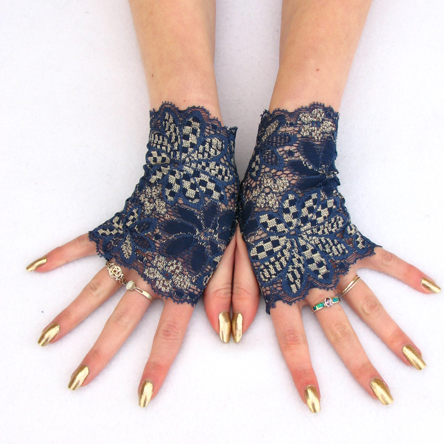 Sapphire Blue Lace Fingerless Gloves with Gold Accents