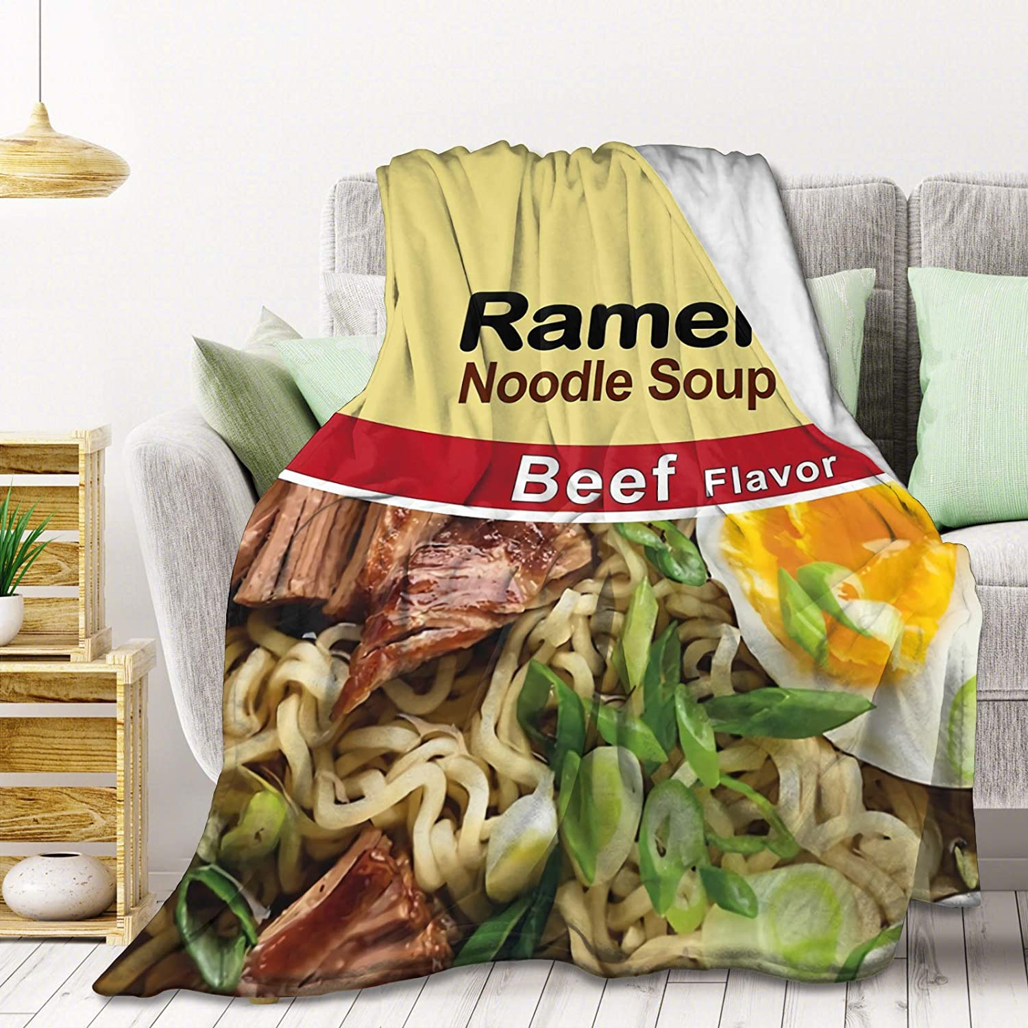 AMITAYUS Ramen Noodle Soup - Beef Flavor Fleece Throw Blanket Lightweight Super Soft Flannel Bed Blanket Perfect Home Decor for Couch Chair Sofa Living Room 50