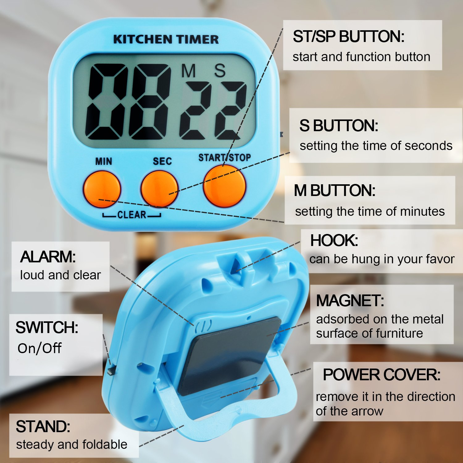 AckMond 3 Pack Digital Kitchen Timer Cooking Timers Clock with Alarm ...