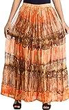 Exotic India Batik-Dyed Elastic Long Skirt With Lace