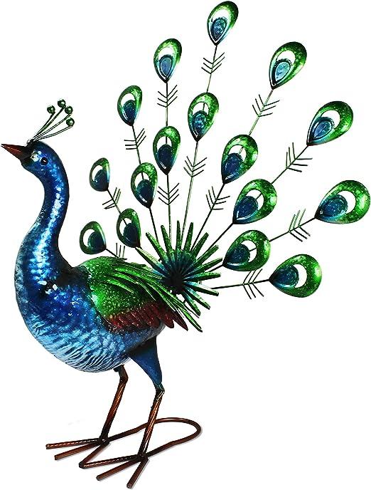 Primus®, Pavo real, Realista, de Metal, pintado a mano, vibrante Cola de Pavo Real, Adorno de jardín para uso interior o exterior: Amazon.es: Jardín