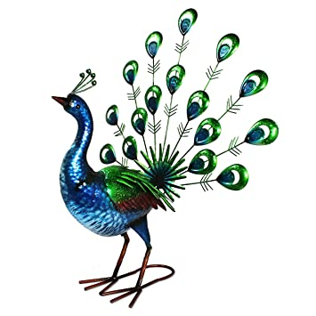 Primus® Lifelike Metal Hand Painted Vibrant Fan Tail Peacock Garden Ornament  For Indoor Or Outdoor