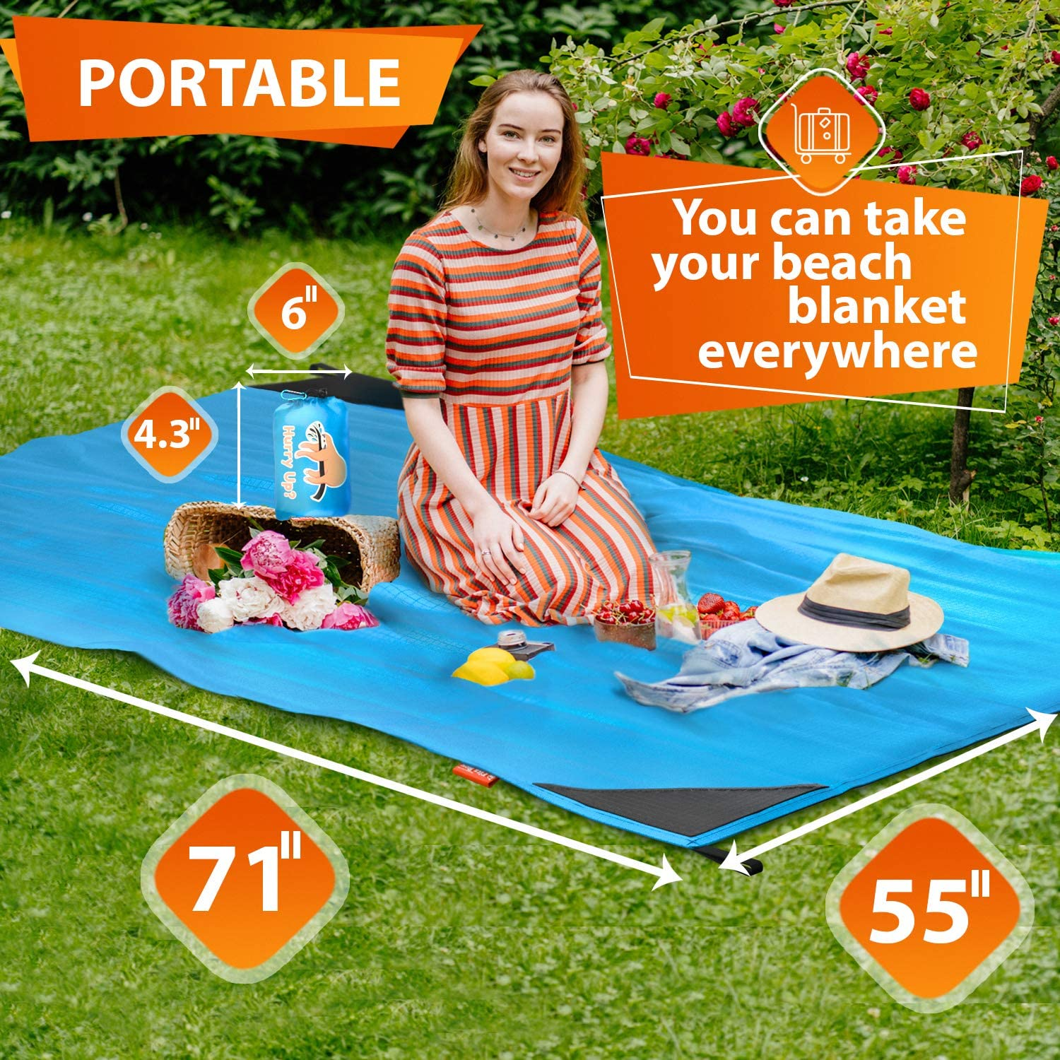 """Music Festival Quickly Drying Beach Mat Sand Free Waterproof for Travel 62/""""x55/"""" Portable Picnic Blankets for 2-3 Adults Lightweight Beach Blanket Sandproof Camping Hiking"""