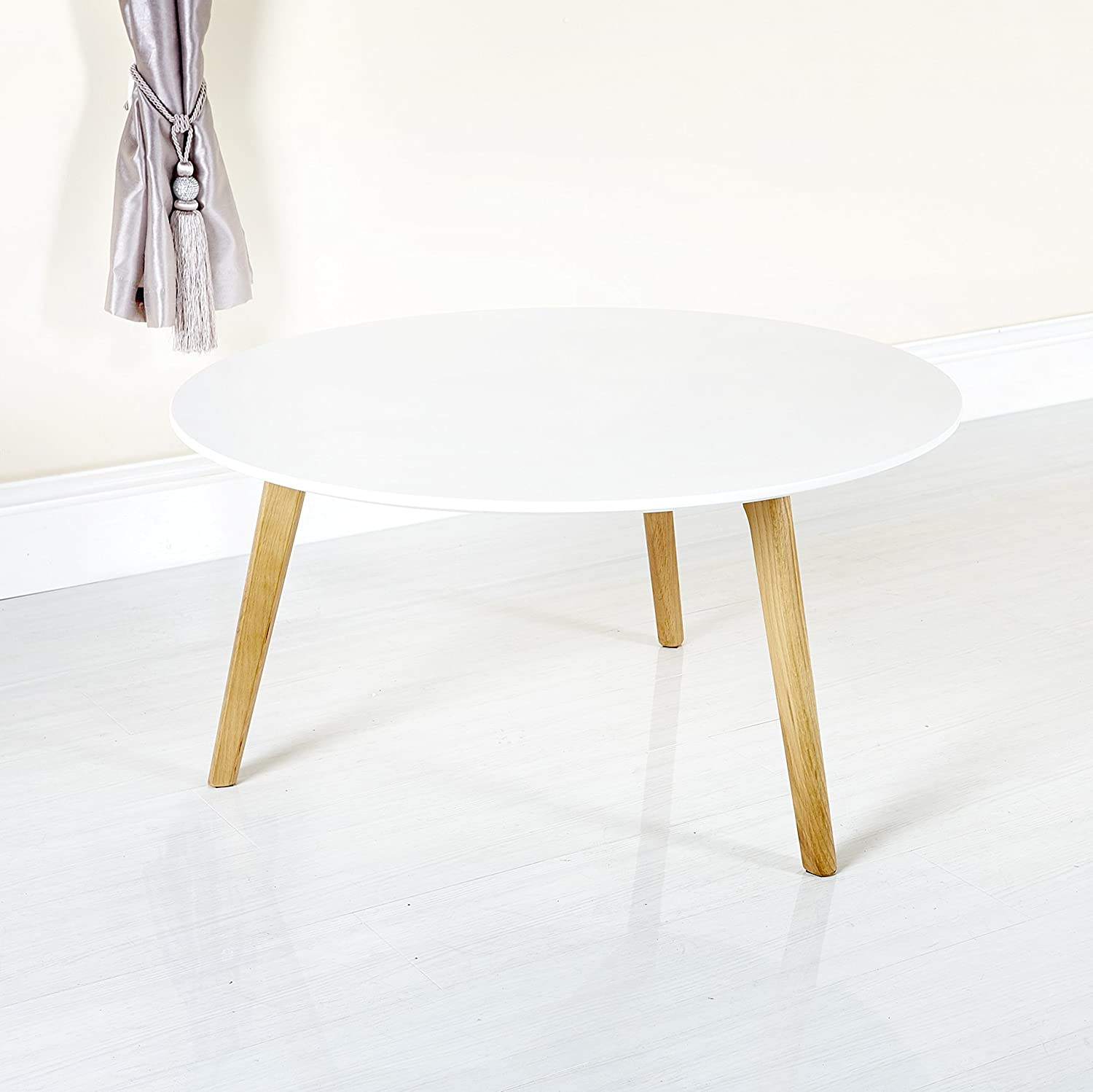 - Abreo Scandinavian Retro White Round Coffee Table With Solid Oak