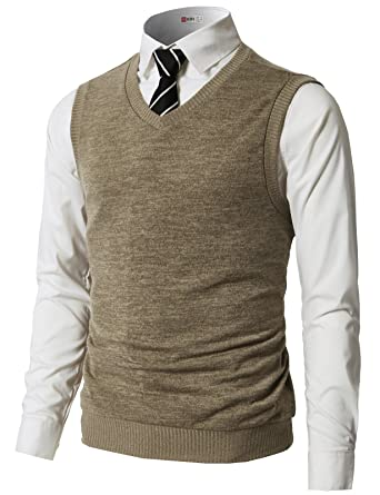 H2H Mens Slim Fit Basic Plain Knitted V-Neck Pullover Sweaters ...