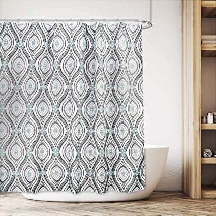 Cdcurtain Damask Floral Shower Curtain Set Teal And Grey Panel Polyester Waterproof Fabric Bathroom