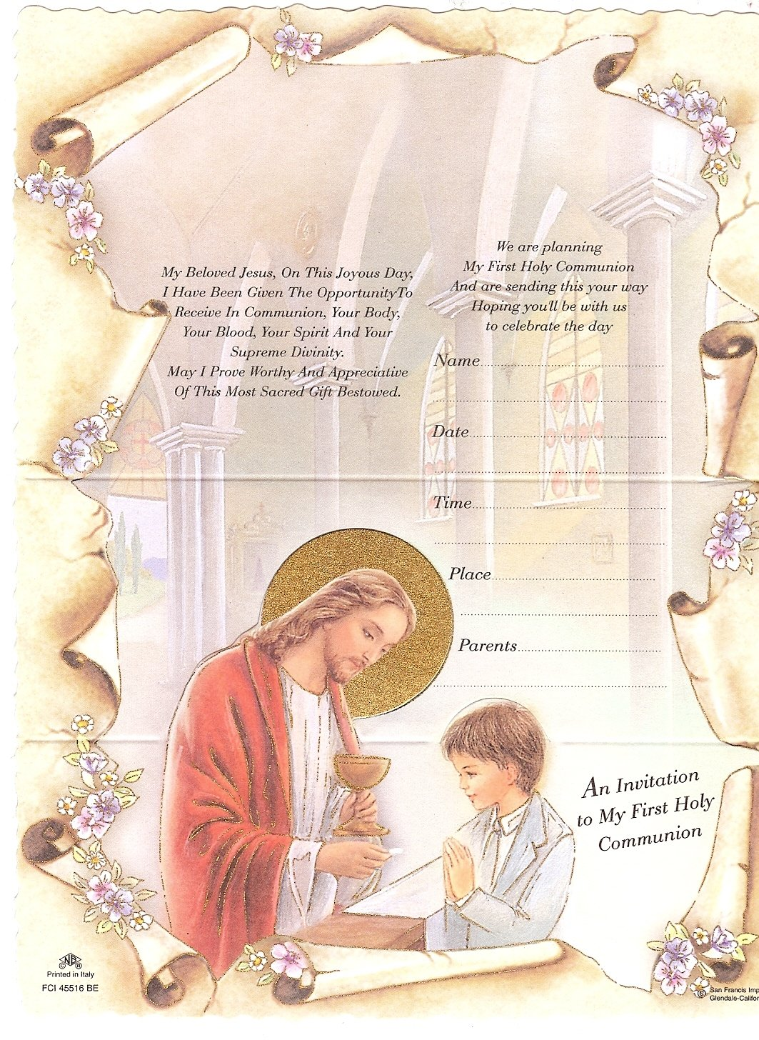 10 Tri Fold First Communion Invitations With Envelopes Boy San