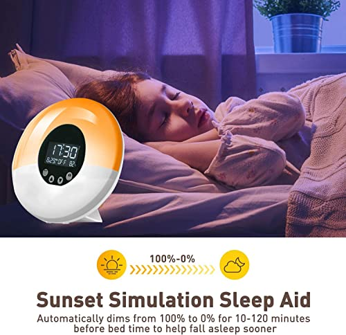 Atralife Wake Up Light Sunrise Alarm Clock, 9 Colors Sunrise Simulation Sleep Aid,Dual Alarm Clock with FM Radio,51 Sounds for and Snooze for Kids Adults Bedrooms