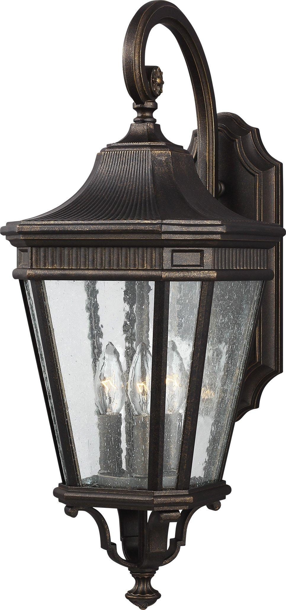 Feiss OL5422GBZ Cotswold Lane Outdoor Patio Lighting Wall Lantern, Bronze, 3-Light (10''W x 24''H) 180watts