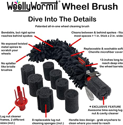 WOOLLYWORMIT Car Detailing Kit Premium Auto Cleaning Supplies Bundle Includes Patented Car Wheel Brush with Integrated Lug Nut Cleaner Chenille Wash Mitt W//Thumb Pocket and Large Microfiber Shammy