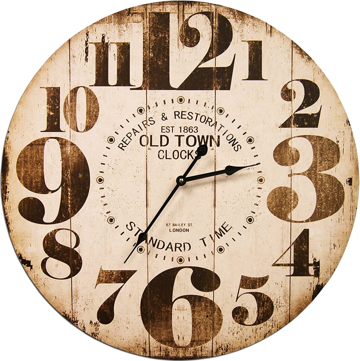 Round Off White Decorative Wall Clock With Big Numbers And Distressed Old Town face 23 x 23 inches Quartz movement
