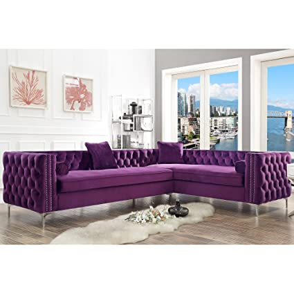 Pleasant Giovanni Velvet Right Facing Corner Sectional Purple 120 Pabps2019 Chair Design Images Pabps2019Com