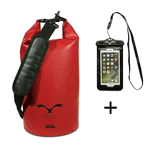 HAWK OUTDOORS Dry Bag - Wasserdichter Packsack gepolsterte Schulter-Gurte inklusive Wasserdichter Handy-Hülle - 30L/20L/10L - Stausack Seesack - Wasserfester Rucksack - Kajak, Rafting, Segeln