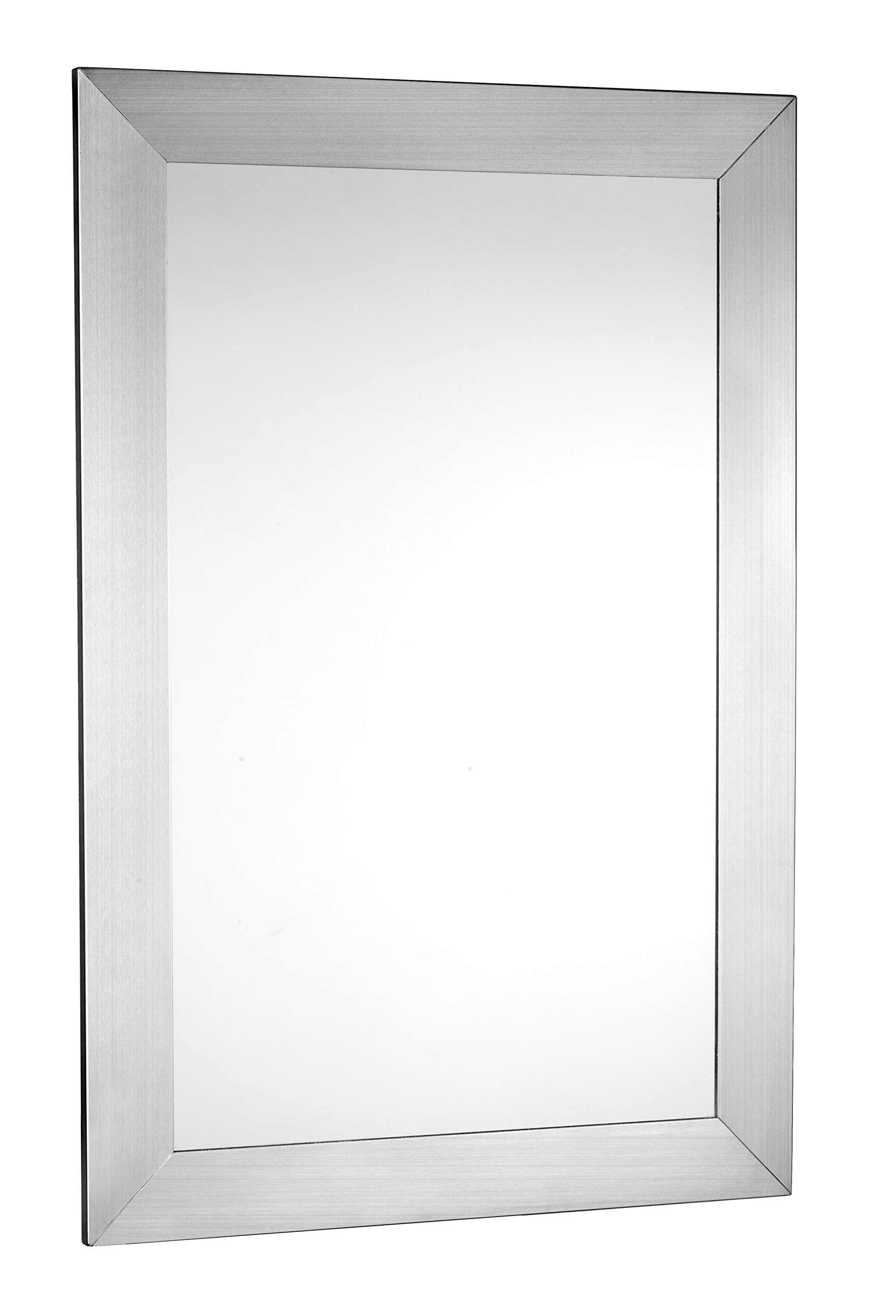 Croydex Parkgate Rectangular Mirror 36-Inch x 24-Inch with Brushed Stainless Steel Frame and Hang N Lock Fitting System