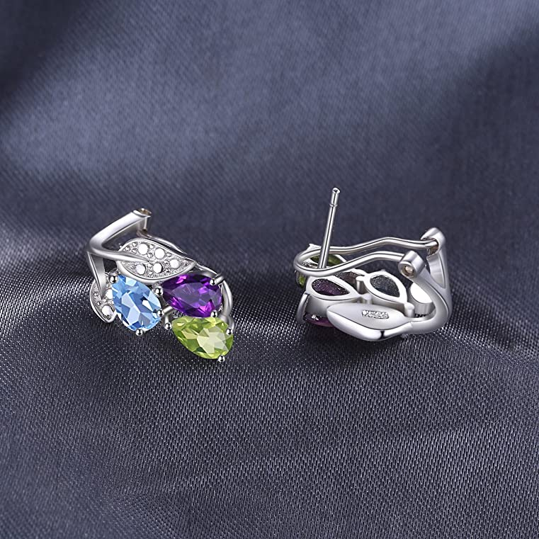 JewelryPalace Multicolor 2.5ct Genuine Amethyst Peridot Blue Topaz Clip On Earrings 925 Sterling Silver KwYtzcU3