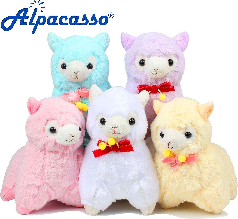 Lindo juguete de peluche suave. Alpacasso 6.7 Paquete de 5 peluches de alpaca